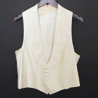 Circa 1920 ivory silk vest or waistcoat for black tie, unlabeled, ~40R/M