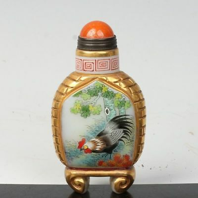 China Exquisite Handmade Cock pattern Glass snuff bottle