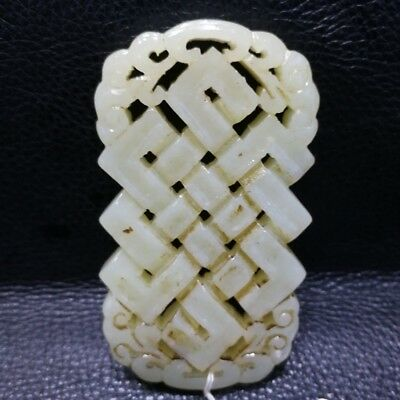 China Exquisite Hand-carved Chinese knot carving Hetian jade Pendant