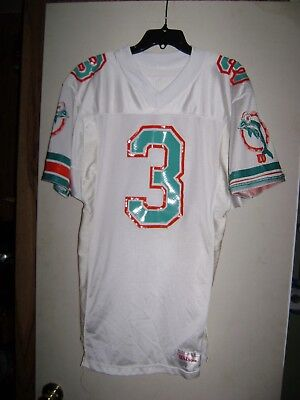 Miami Dolphins White Vintage Game Used Wilson Football Jersey #3 Size 42