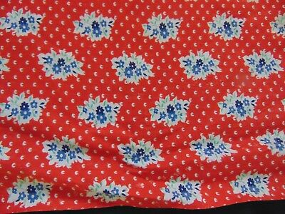 "VTG Feed Sack Fabric Print ~ Small Blue Flowers on Red Background 36"" x 40"""