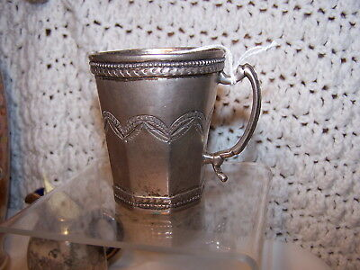 RARE 18th 19th CENTURY SPANISH COLONIAL COIN SILVER SCROLL HANDLE WINE CUP