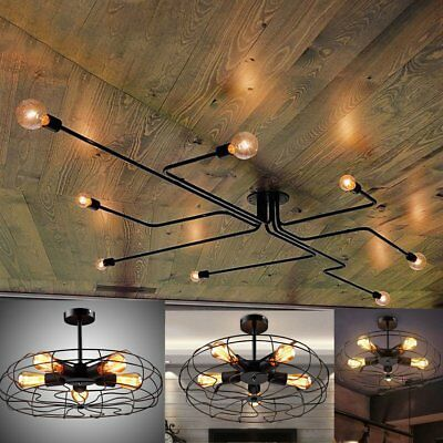 Industrial Vintage Semi Flush Ceiling Chandelier Light Steampunk Pendant Lamp EK