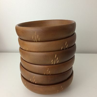 Set (6) BARIBOCRAFT Maple Individual Small Wooden Bowls Wheat Pattern