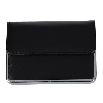 Pro Stainless steel PU Leather Business Name ID Cit Card Holder Case Pocket E5P6