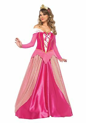 US Stock Women Princess Aurora Sleeping Beauty Adult Costume Gown Fancy Dress Up