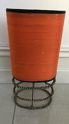 Vintage Retro  Lamp Shade - Orange Silk/shantung With String Base In Vg Cond.