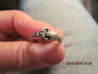 Vintage Mexico Sterling Silver Holding Hands & Heart Inside Three Rings Joined