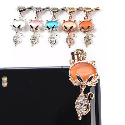 new fashion rhinestone fox metal dust plug for headphone hole high quality Fad.
