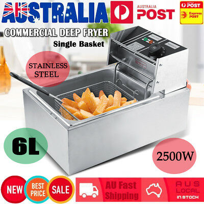 6L Chef Commercial Electric Deep Basket Fryer Frying Chip Cooker Fry Scoop Home