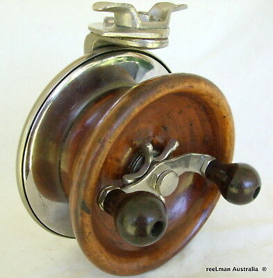 ALVEY Metal & Wood Y back old collectible vintage side cast surf fishing reel