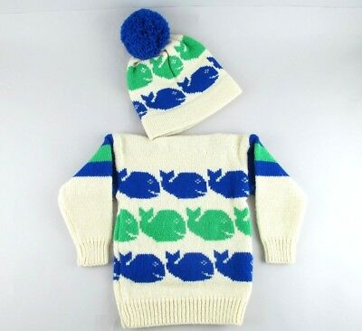 Vtg Kids Winter Knit Whale Sweater & Cap Hat Pom Maine Mad Hatter Acrylic Wool