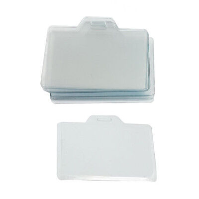 "20 Pcs 3.3"" x 2"" Clear Plastic Name Tag Business ID Card Holder PK K9O9"