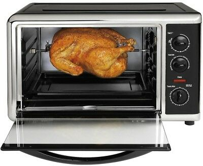 Large Electric Kitchen Countertop Toaster Oven Bake w/ Convection + Rotisserie