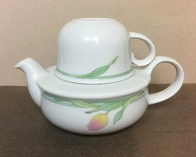 Toscany Collection Japan Tea for One Tulip Design Teapot & Cup Set