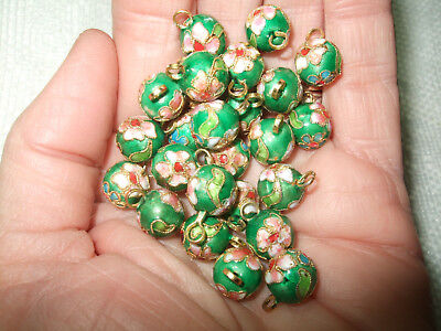 Green Enamel Cloisonne Beads Connectors Floral Pack Of 25 Pink Blue White Loop