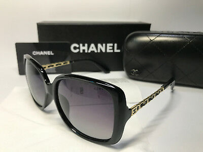 SunglassesCHPolarized&& Chanel₃Womens Black/Gold Lenses