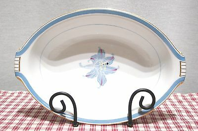 RARE! Narumi China OCCUPIED Japan RHAPSODY Blue Lily Oval open Vegetable Bowl