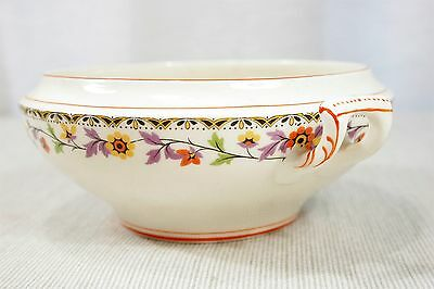 Myott and Sons small double handled serving bowl or tureen Floral Red trim 2069