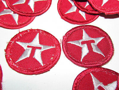 2 Vintage Texaco Gas Motor Oil Uniform Patch Sign Red Circle T Star