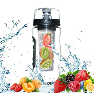 1000ml BPA Free Fruit Infusing Infuser Water Bottle Plastic Sports Detox Health