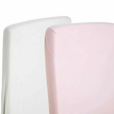 Spacesaver Cot Fitted Sheets 100% Cotton 100cm x 52cm - 1x White / 1x Pink