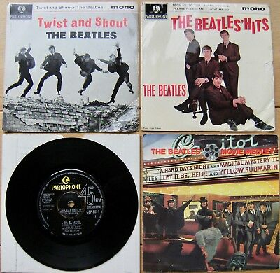 4 Beatles EP's - Twist & Shout, The Beatles' Hits, All My Loving & Movie Medley