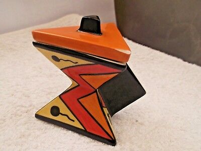 ?lorna Bailey Style  Two Triangles Lidded Pot With Handle   Small  A / F