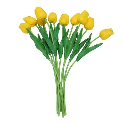 10pcs Yellow Latex Tulip Flower with Leaves For Wedding Decorate PK J5A4