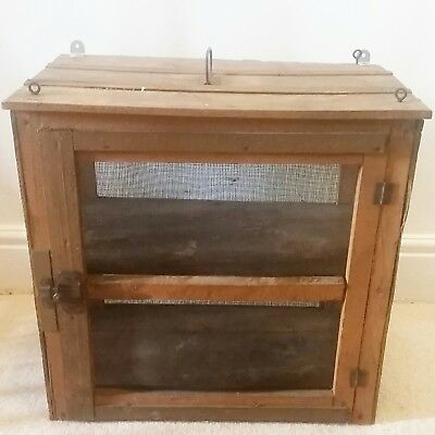 VINTAGE French Brocante Cheese Box/ Meat Safe Mesh Wooden Cupboard- Flea Market