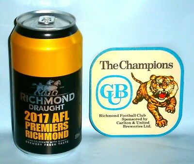 Richmond Tigers Carlton Draught Beer 2017 Premiership Can, Original 80's Coaster