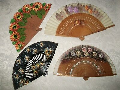 4 X Hand Painted Hand Fans