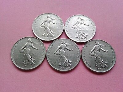 5 French Coins One Franc Collection Date Run 1974 1975 1976 1977 1978 (R691)