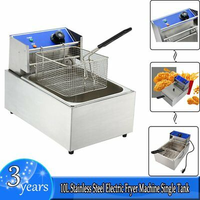 10L Stainless Steel Electric Fryer Machine Single Tank Home Commercial Fryer