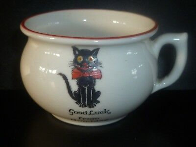 Arcadian Crested China Lucky Black Cat Cup with red trim. Good Luck from Mumbles