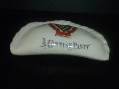 "Devonia Crested China Model of a Cornish Pasty. Crest of Cornwall ""One and All"""