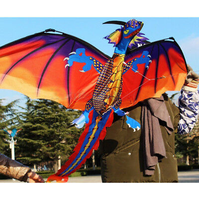 Classic Colorful 3D Dragon Kite Single Line With Tail Outdoor Sport Kids Toy