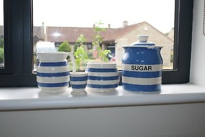 T & G Green Cornishware  sugar caddy with lid and chefware items