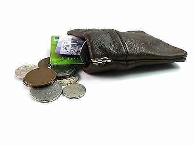 Aus Mens Ladies Quality Brown Leather Coin Change Pouch Purse Change Wallet