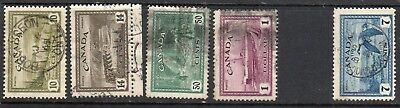 "Canada - 5 USED Stamps ""Re-conversion to Peace"". Issued 1946"