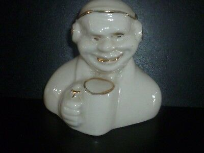 Unmarked Crested China Comical Radio Operator holding Mug. Crest of Leigh on Sea
