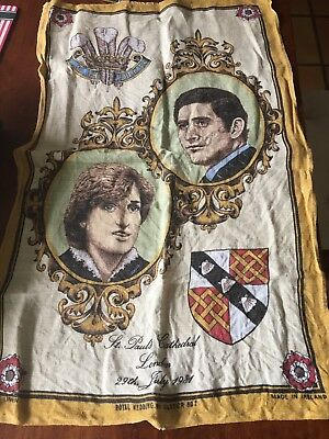 Royal Wedding Princess Diana Prince Charles Genuine Irish Linen 1981 Vintage
