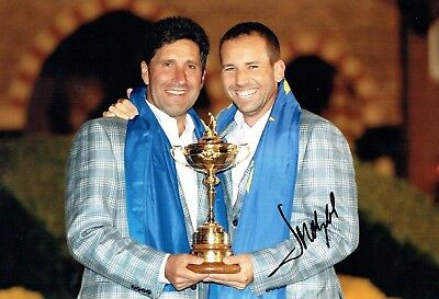 Jose Maria OLAZABAL SIGNED 12x8 Photo AFTAL COA with Sergio Garcia Ryder Cup