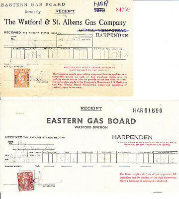 Commercial Overprint : Eastern Gas on KG6 Receipts x 2
