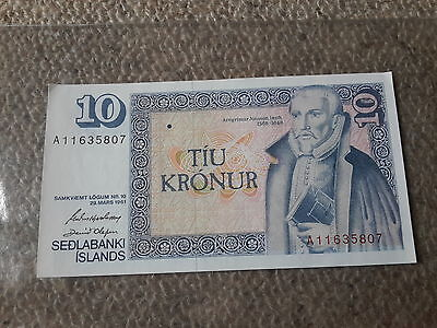 10 Kronur UNC - Iceland 1961 Bank Note