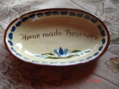 Vintage  Pottery  dish marked Home made preserves