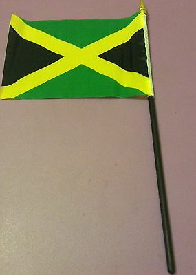 Jamaica Flag  145mm x 105mm silk like material pole (275mm) mounted new