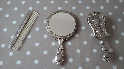 3 piece silver plated and plastic  vanity set mirror,brush and comb heavy modern