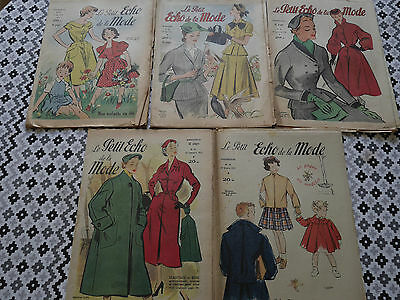 Lot 5 Magazines Le Petit Echo De La Mode 1952