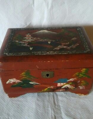 Vintage Japanese Musical Jewellery Box With Key